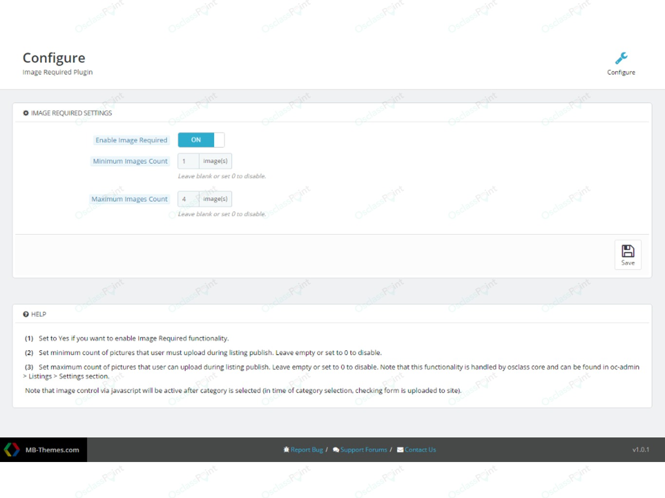 Image Required Plugin - Design and Appearance - Osclass plugins