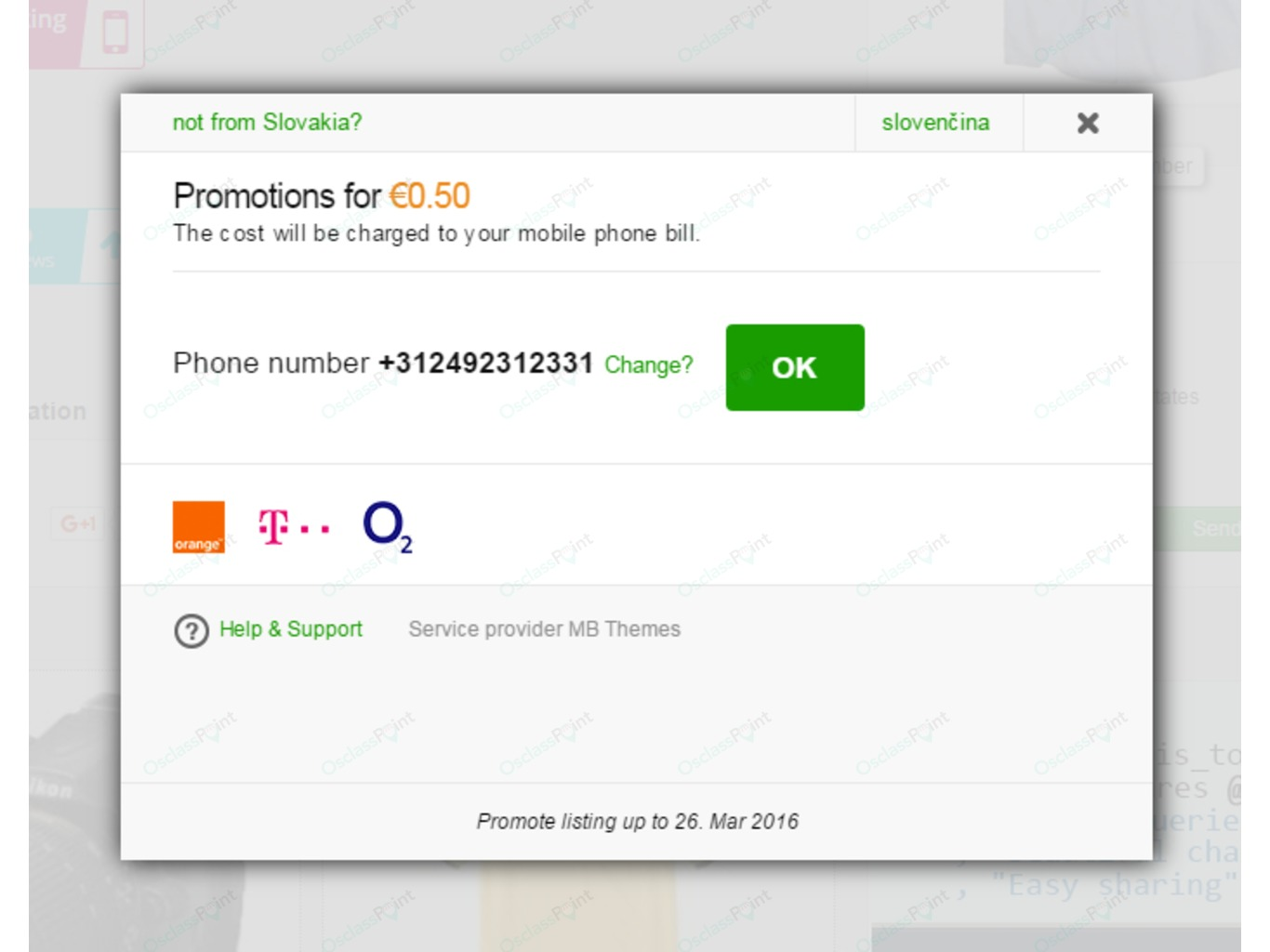 SMS Payments Plugin - Payments and Shopping - Osclass plugins