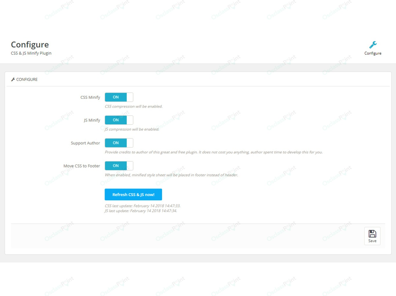 CSS and JS Minify Free Plugin - Backoffice - Osclass plugins