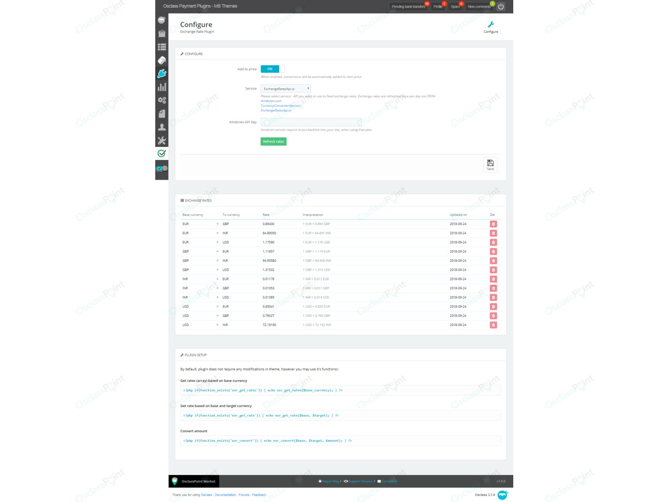 Exchange Rate MultiCurrency Plugin - Payments and Shopping - Osclass plugins